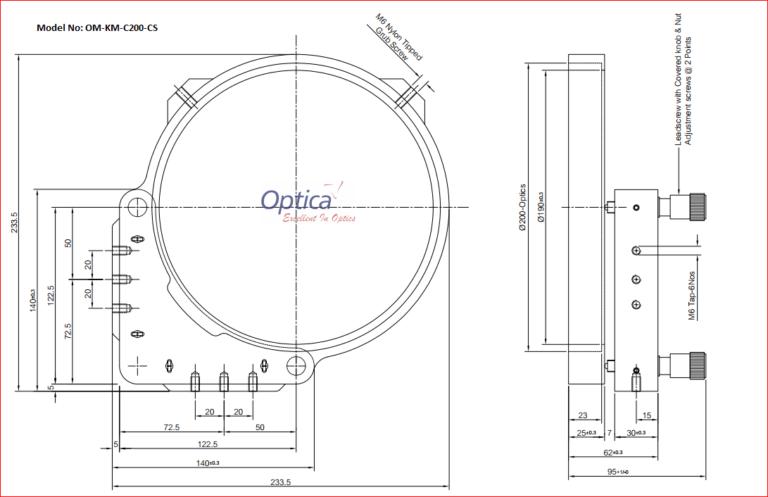 OM-KM-C200-CS Kinematic Mirror Mount for 200mm Mirror
